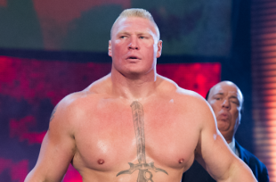 Wrestlezone image Brock Lesnar Stiffs Braun Strowman During Their Royal Rumble Title Match? (Video); The Rock Announces Major Boxing Rematch